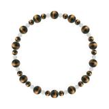 鳳凰(6mm)金茶色タイガーアイ・水晶(クォーツ)ブレスレット