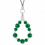 鳳凰(8mm)緑色グリーンメノウ・水晶(クォーツ)ストラップ