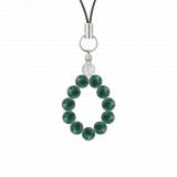純真(6mm)緑青色アズロマラカイト・水晶(クォーツ)ストラップ