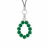 純真(6mm)緑色グリーンメノウ・水晶(クォーツ)ストラップ