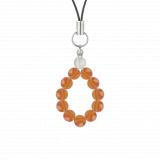 純真(6mm)橙色サードオニキス・水晶(クォーツ)ストラップ