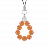 純真(8mm)橙色サードオニキス・水晶(クォーツ)ストラップ