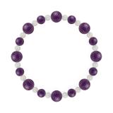 標(8mm)紫色アメジスト・水晶(クォーツ)ブレスレット
