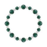 標(8mm)緑青色アズロマラカイト・水晶(クォーツ)ブレスレット
