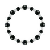 標(8mm)漆黒色ブラックトルマリン・水晶(クォーツ)ブレスレット