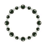 標(8mm)千歳緑色ブラッドストーン・水晶(クォーツ)ブレスレット