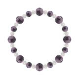 標(8mm)京紫色チャロアイト・水晶(クォーツ)ブレスレット
