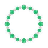 標(8mm)若緑色クリソプレーズ・水晶(クォーツ)ブレスレット