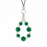 標(8mm)緑色グリーンメノウ・水晶(クォーツ)ストラップ