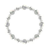 標(8mm)灰白色ハウライト・水晶(クォーツ)ブレスレット