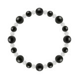 標(8mm)黒色オニキス・水晶(クォーツ)ブレスレット