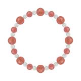 標(8mm)薔薇色インカローズ・水晶(クォーツ)ブレスレット