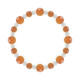 標(8mm)橙色サードオニキス・水晶(クォーツ)ブレスレット