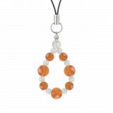 標(8mm)橙色サードオニキス・水晶(クォーツ)ストラップ