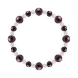 標(8mm)紫紺色スギライト・水晶(クォーツ)ブレスレット