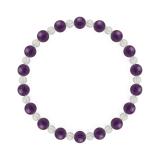相生(6mm)紫色アメジスト・水晶(クォーツ)ブレスレット