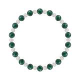 相生(6mm)緑青色アズロマラカイト・水晶(クォーツ)ブレスレット