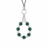 相生(6mm)緑青色アズロマラカイト・水晶(クォーツ)ストラップ