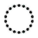 相生(6mm)漆黒色ブラックトルマリン・水晶(クォーツ)ブレスレット