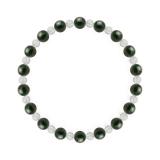 相生(6mm)千歳緑色ブラッドストーン・水晶(クォーツ)ブレスレット
