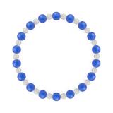 相生(6mm)青色ブルーメノウ・水晶(クォーツ)ブレスレット