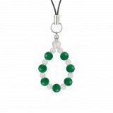 相生(6mm)緑色グリーンメノウ・水晶(クォーツ)ストラップ