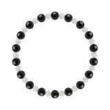 相生(6mm)黒色オニキス・水晶(クォーツ)ブレスレット