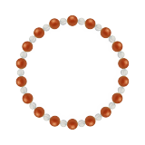 相生(6mm)赤色レッドメノウ・水晶(クォーツ)ブレスレット