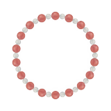 相生(6mm)薔薇色インカローズ・水晶(クォーツ)ブレスレット