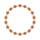 相生(6mm)橙色サードオニキス・水晶(クォーツ)ブレスレット