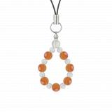 相生(6mm)橙色サードオニキス・水晶(クォーツ)ストラップ