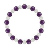 相生(8mm)紫色アメジスト・水晶(クォーツ)ブレスレット