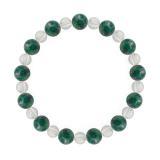 相生(8mm)緑青色アズロマラカイト・水晶(クォーツ)ブレスレット