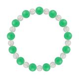 相生(8mm)若緑色クリソプレーズ・水晶(クォーツ)ブレスレット