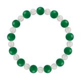 相生(8mm)緑色グリーンメノウ・水晶(クォーツ)ブレスレット
